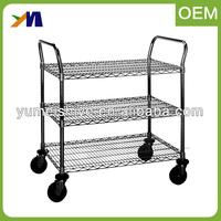 3 Shelves Industrial Use Metal Mesh Wire Warehouse Shelf Utility Anti-Static Cart Trolleys