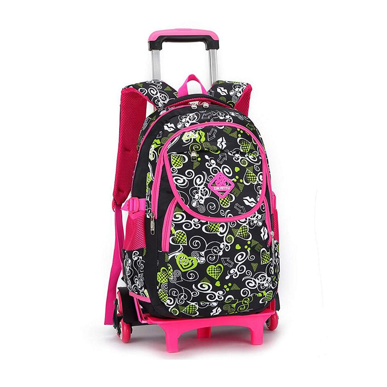 Get Quotations · YUB Girls School Bag Rolling Backpack Shoulder Bag Wheeled  Backpacks Detachable 389dc912e27c5