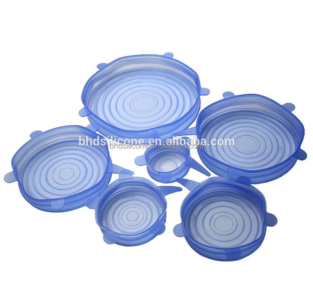 100% Food Grade Silicone 6 Sizes Stretch Lids Food Covers,Reusable Stretch Lid Wrap for Bowl Containers and Cans