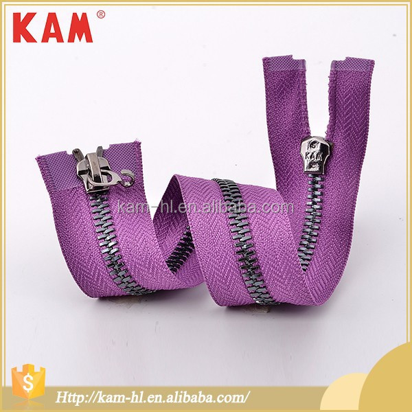 Corn teeth light gun double open end 25cm purple custom metal zipper