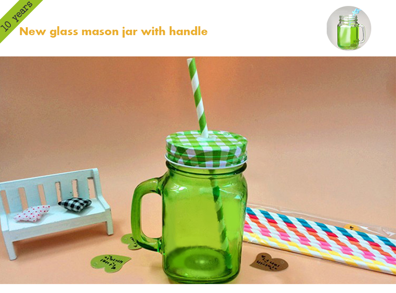 Glass mason canning jars for sale with straws and handles customized