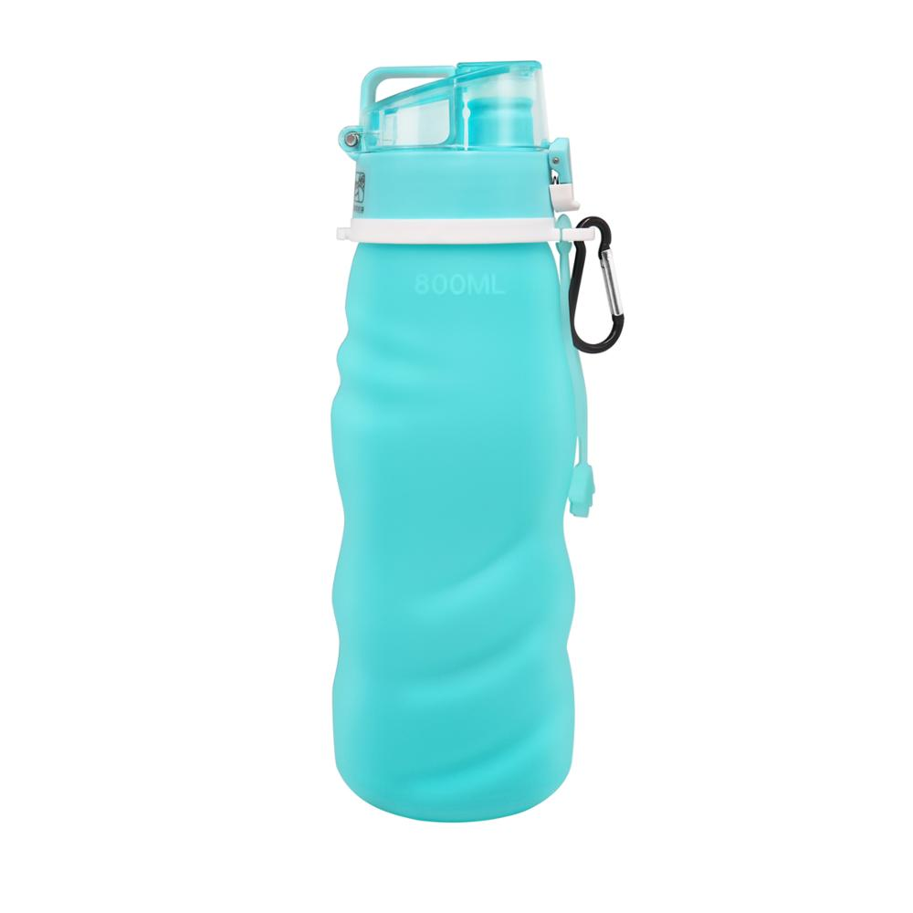 Alibaba.com / 800ML customized color foldable travel sport silicone water bottle