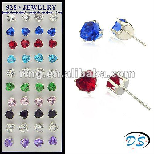 Sterling Silver 925 Colorful Crystal Earrings Kids Girl Baby Stud Earrings
