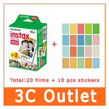 Original Fujifilm Fuji  Instax Film 20 Sheets+20 Sheet Stickers , For Fuji 3 Inch Instant Camera mini 7s 70 8 25 50s 90