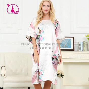 7efdbf5a4 Senhora Pijama De Cetim De Seda Lingerie Pijamas Kimono Vestido Camisola  Longa Túnica Branca