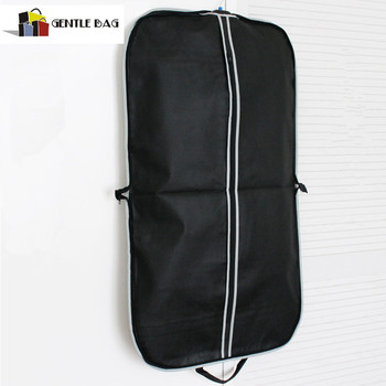 Promotional Black Garment Bag With Silver Zip Up Hanging Suit Dress Coat Clothes Cover Protector Travel