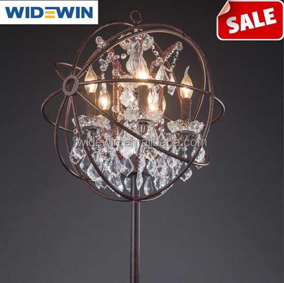 Restoring ancient ways, wrought iron crystal designer RH style restoring ancient ways, LOFT industrial crystal globe floor lamp