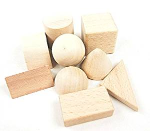 StarMall Set of 9 Montessori Teaching Aids Unfinished Wooden Building Blocks Set