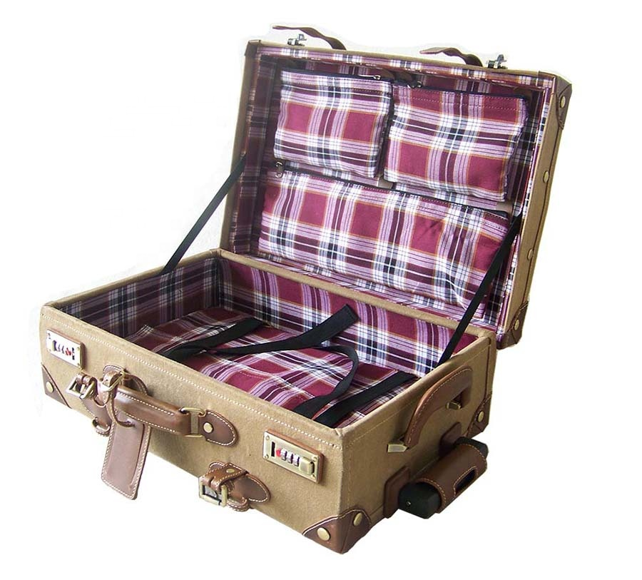 HIBO custom canvas and leather vintage luggage trolley case