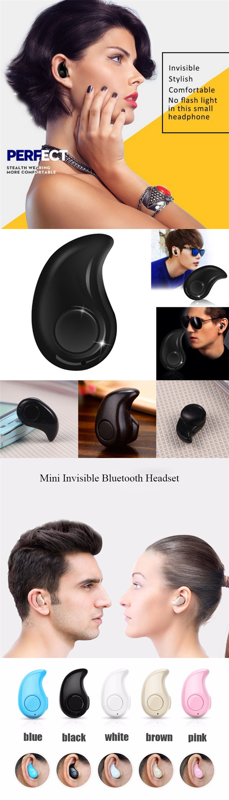 d63e68f5164 China Best cute bluetooth headphone for girls invisible bluetooth earphone  With Bottom Price