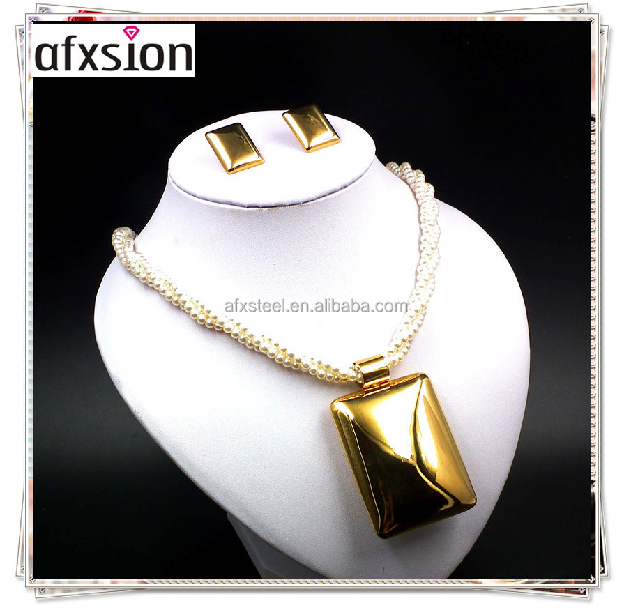 2017 AFXSION Wholesale online Christmas stainless steel jewelry, popular pearl hollow jewelry <strong>set</strong> wholesale