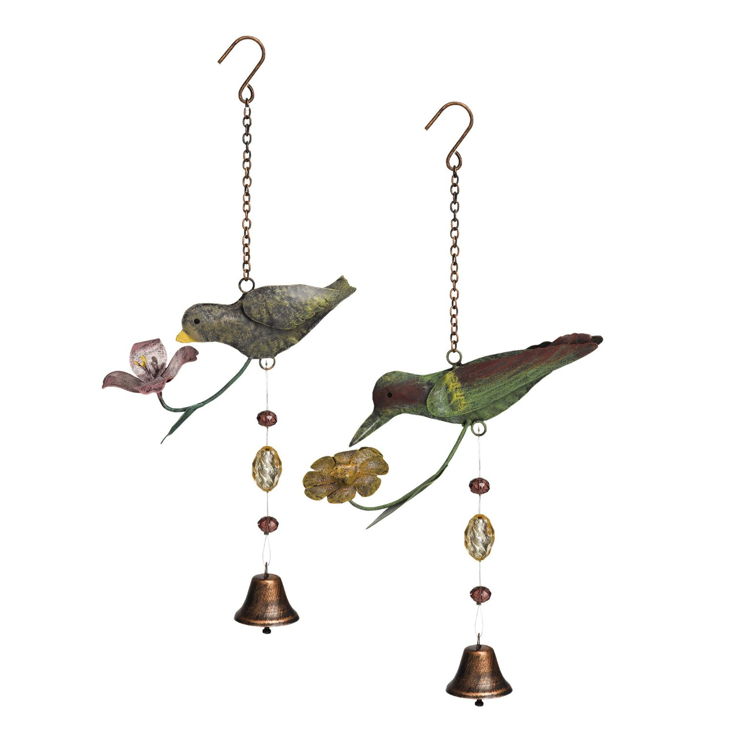Grasslands Road Metal Bird Mobile with Bell Assortment, 12-Inch, 4-Pack