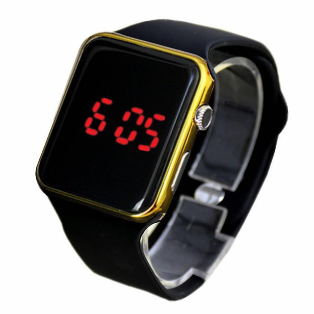 Men Sport LED Watches Top Brand Square Mirror Face Silicone Digital Wristwatch Electronic Clock reloj hombre SW051