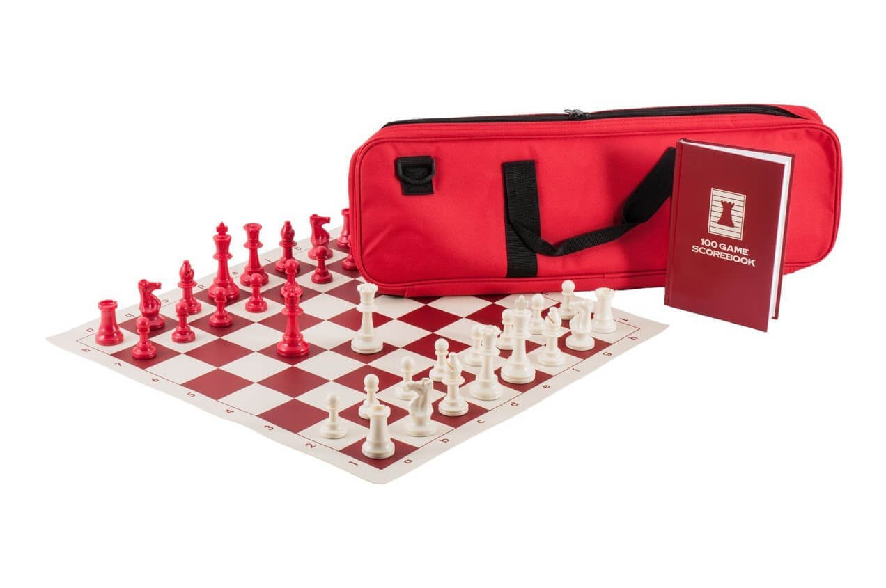 Quiver Chess Set Combination Triple Weighted Red Bag Board
