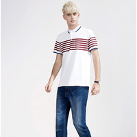 Casual white and red stripe no label polo shirts