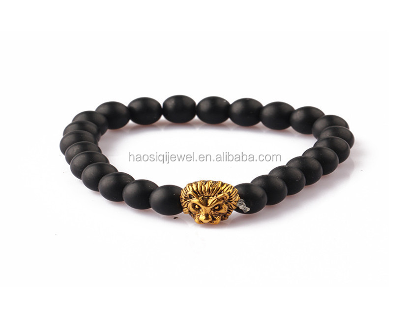 long way jewelry manufacturer in china Yellow pine stone stainless steel lion bracelet
