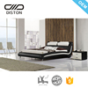 european style leather bed with headrest and metal legs latest queen size bed designs