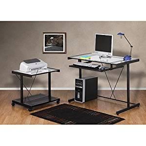 Powder-Coated Metal Frame, Computer Desk and Printer Cart Value Bundle, Black