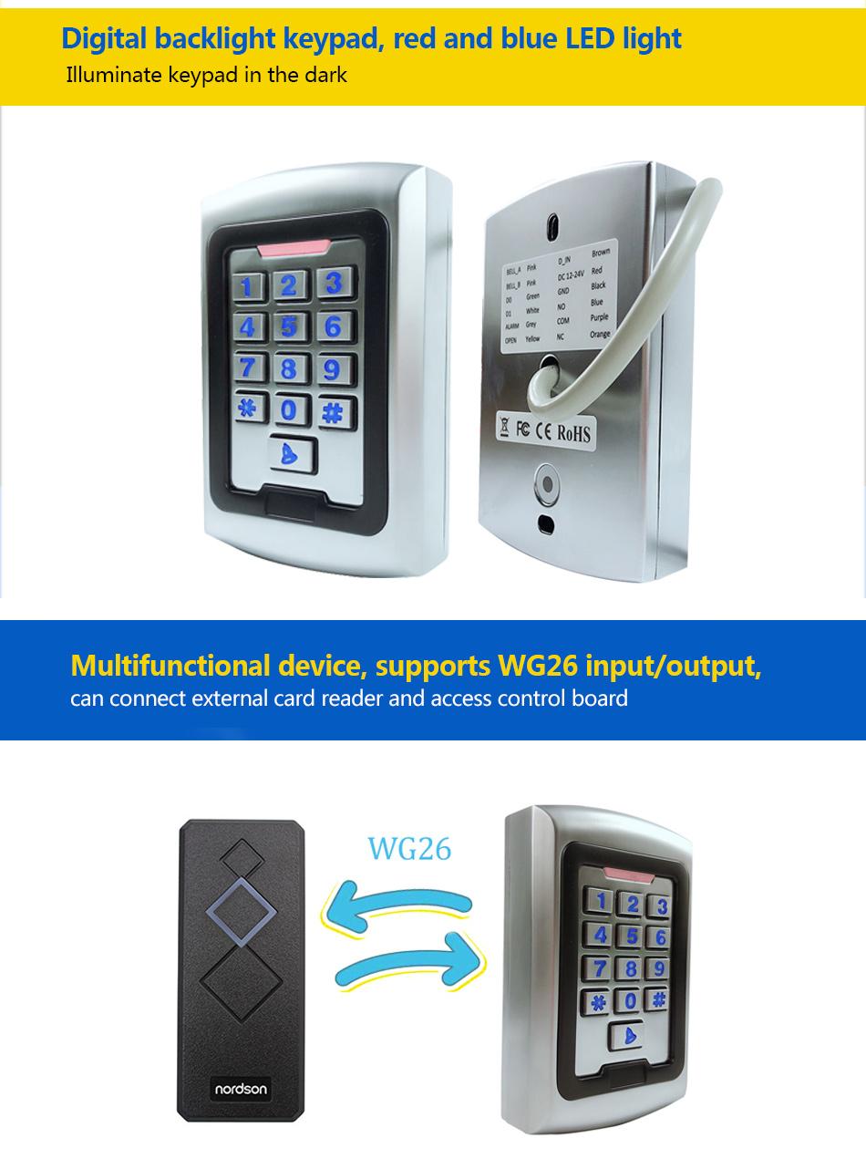 lector de tarjetas RFID con acceso al teclado digital Control de acceso independiente adecuado para oficina//residencial//almac/én.