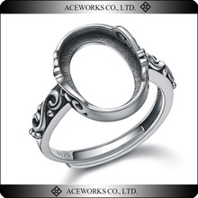 2018 Top Fashion wholesale ring setting without stones 14*10*1mm antique silver jewelry finger ring base blank findings