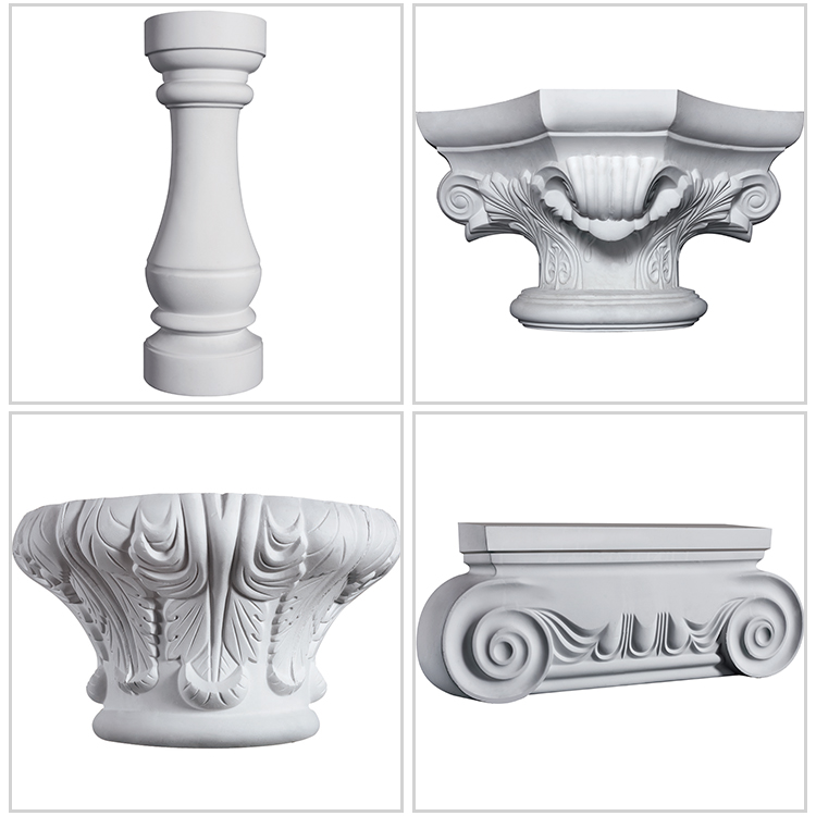 Exterior: Obvious 3d Effect Gypsum Decorative Plaster Columns