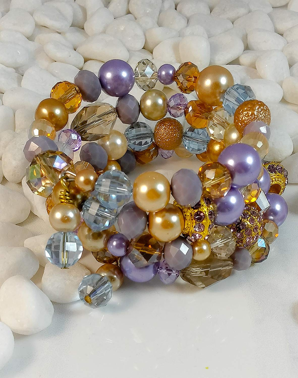 Purple and Gold Pearl and Crystal Wrap Bracelet