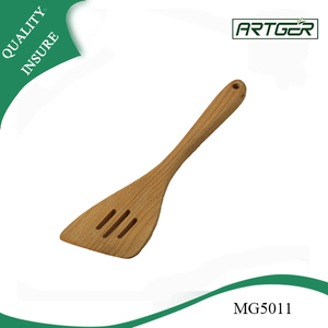 Custom Wooden Flat Slotted Spatula Spoon In Promotion
