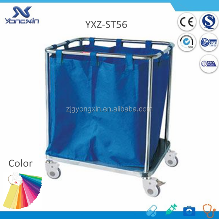 304 Stainless Steel and Nylon Bag, Hospital Laundry Collecting Trolley Cart