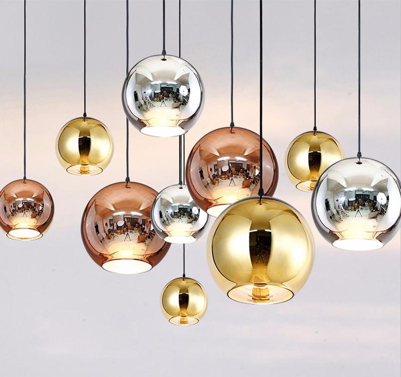 Horstent Nordic Home globe glass pendant lamp silver gold copper color dinning room living room light home decoration lighting (14)