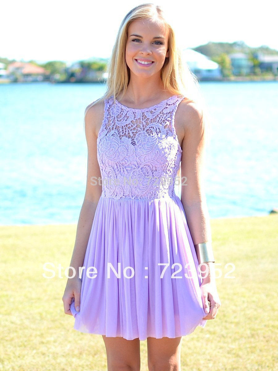 2013 Hot ! Summer Beach Wedding Bateau Sleeveless Purple ...