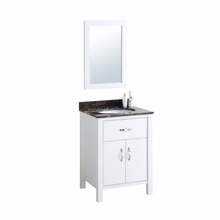 24'' small size solid wood soho floor bathroom vanity unit white finish bath furniture set marble counter top sink cabinet combo