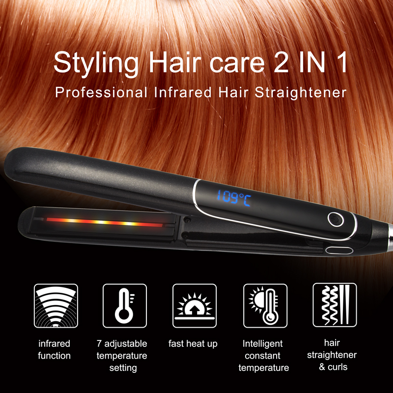 Private Label 1 Inch LCD Display Salon Flat Iron Wholesale Hair Straightener Infrared