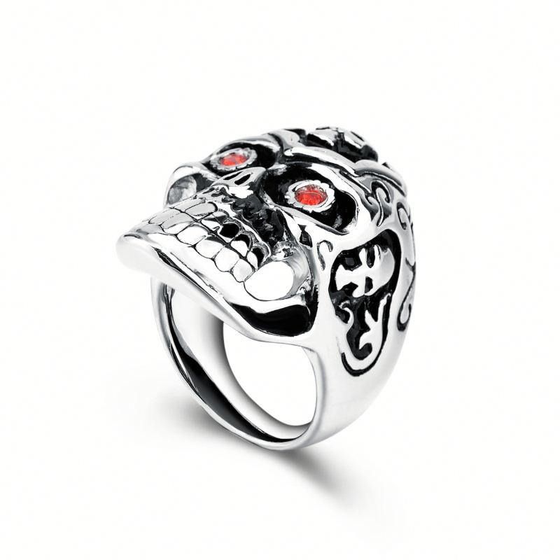 Boy Punk Style Stainless Steel Red Zircon Men's Jewelry Manufacturer Wholesale Skull Head Rings