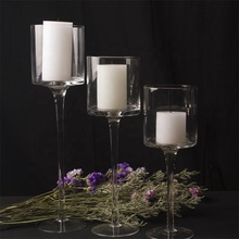 Wholesale crystal glass home decor tall long stem wedding candle holders