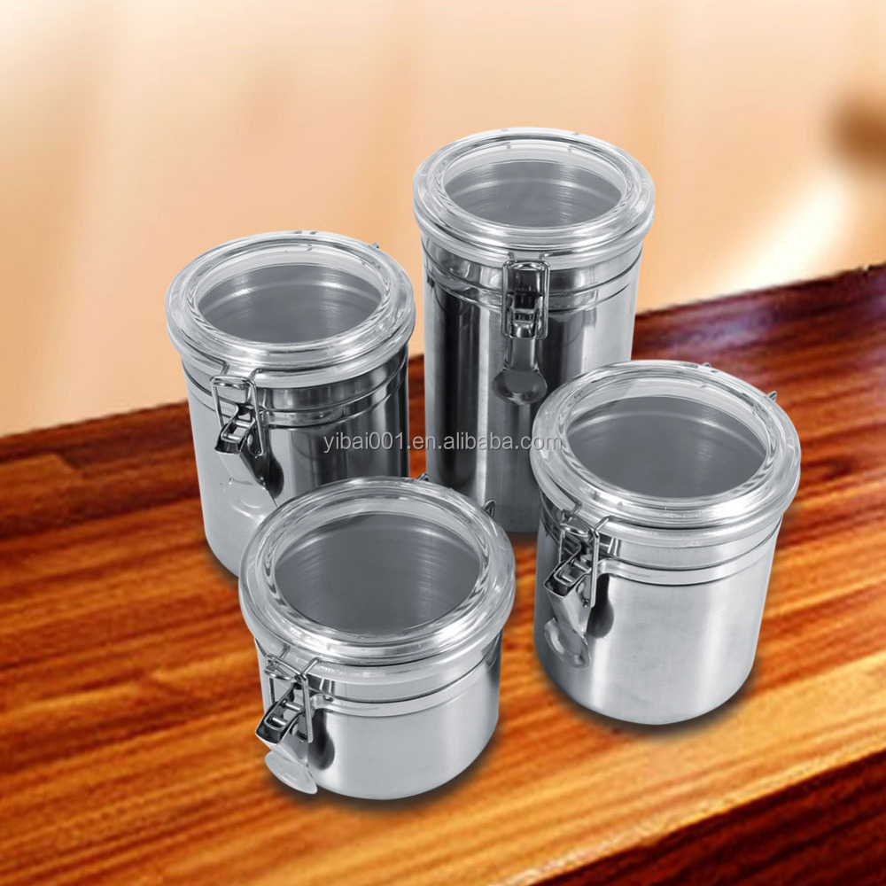 4 Sizes Stainless Steel Kitchen Food Storage Container Bottle Sugar Tea  Coffee Beans Canister - Buy Tea Sugar And Coffee Canisters,Kitchen Food ...