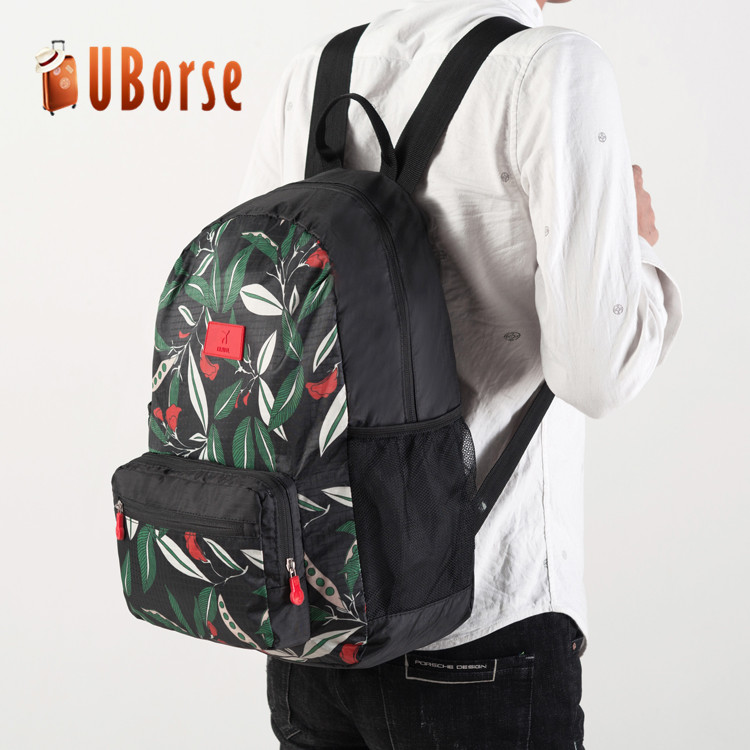 Custom travelling women waterproof polyester foldable collapsible backpack