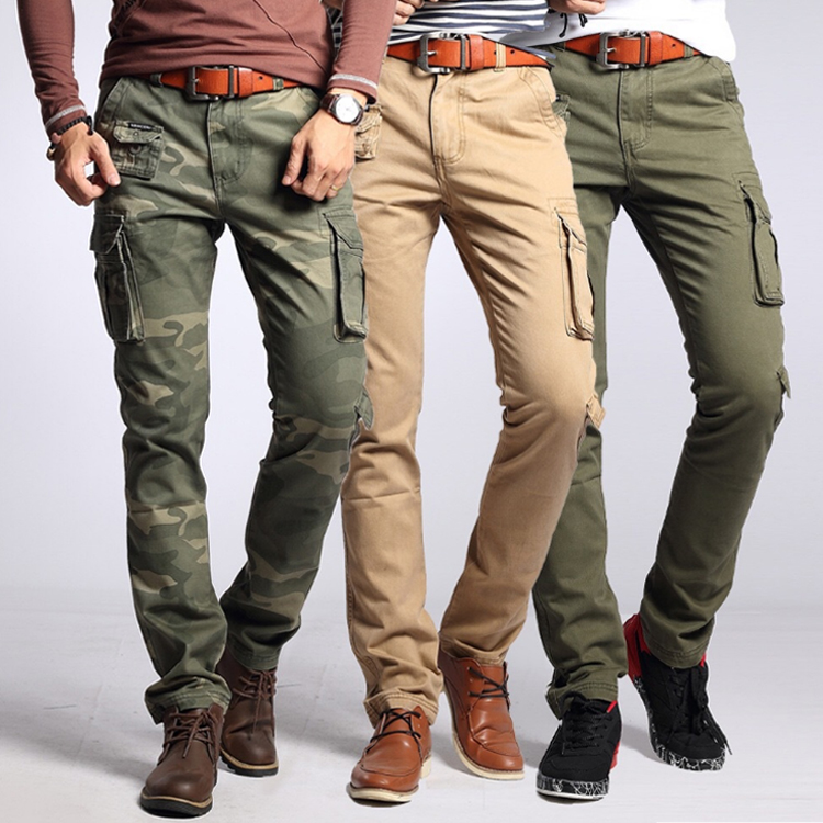Fashion Design Comfortabele Militaire Print Multi Pocket Slim Fit Cargo Broek voor Mannen