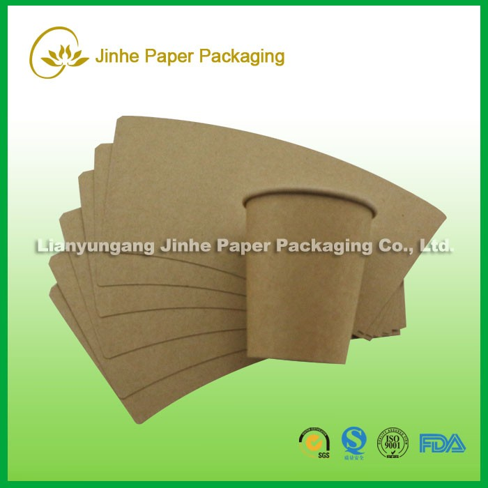 Kraft paper cup fan sleeve for hot cold drink