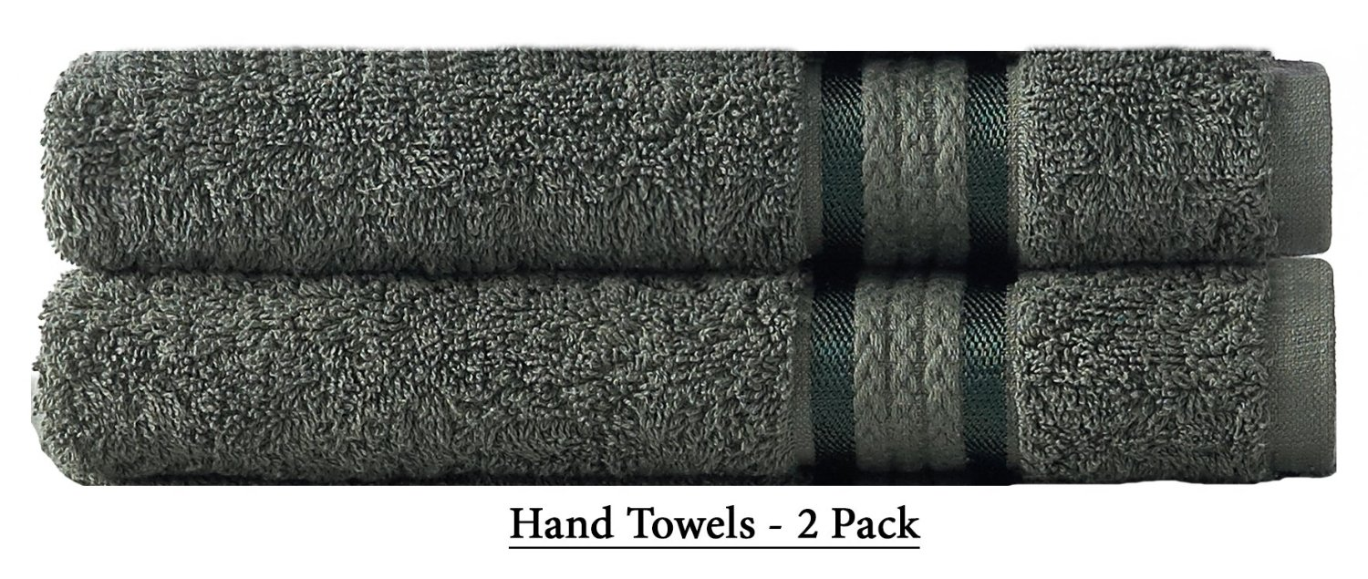 Cotton Craft - Ultra Soft 2 Pack Hand Towels 16x28, Basil Green - Pure Luxury 650 gram Ringspun Cotton accentuated with a Rayon band