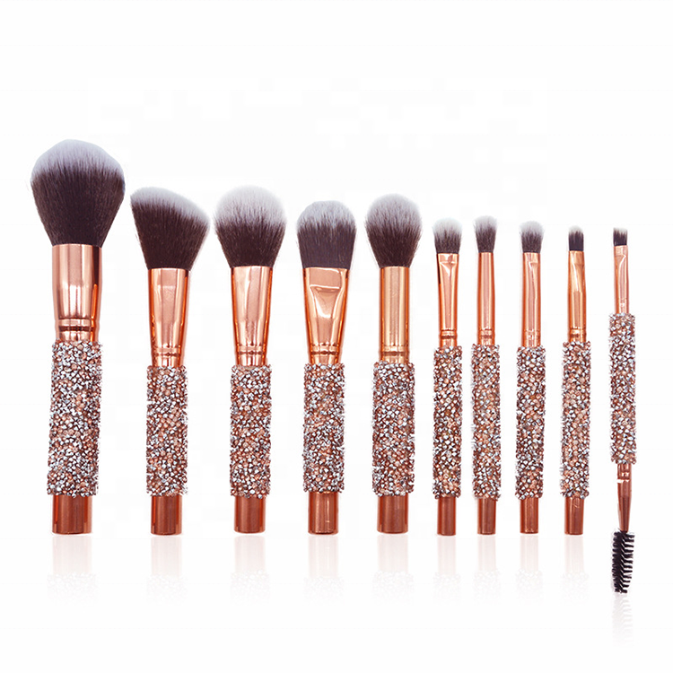 Private Label Bling Strass Handvat 10 pcs Makeup Brush Set met PU Bag