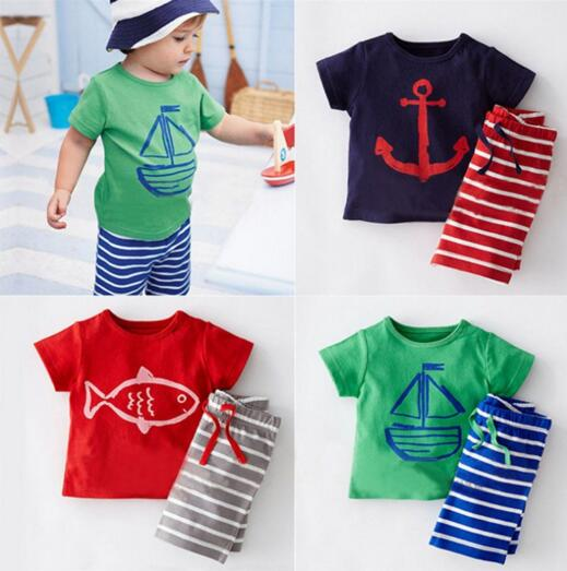 CT004 Character Baby Clothes Set Summer Infant Babies Boys Girls Animal Tops+Striped Pants Newborn Boy Girl Clothes Sets