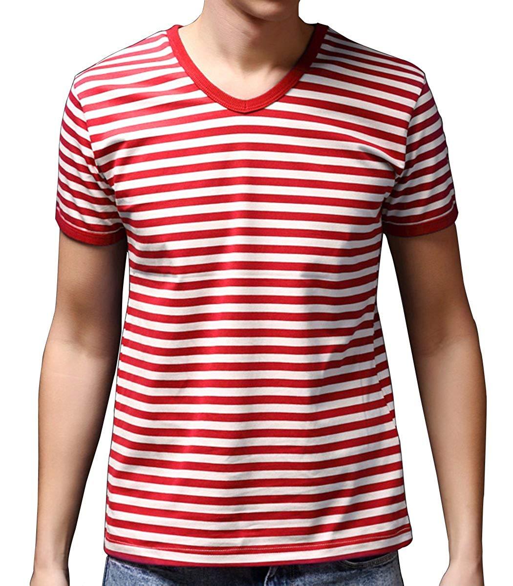 7e992054712a Get Quotations · Ezsskj Men Boy Stripes Tee Tops Crew Neck Black White  Striped T Shirt Outfits
