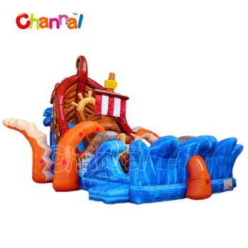Attractive Conch ship inflatable slide with long inflatable slide land slide for adults