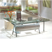L shape office glass executive desk, good looking glass manager desk ,tempered glass manager table
