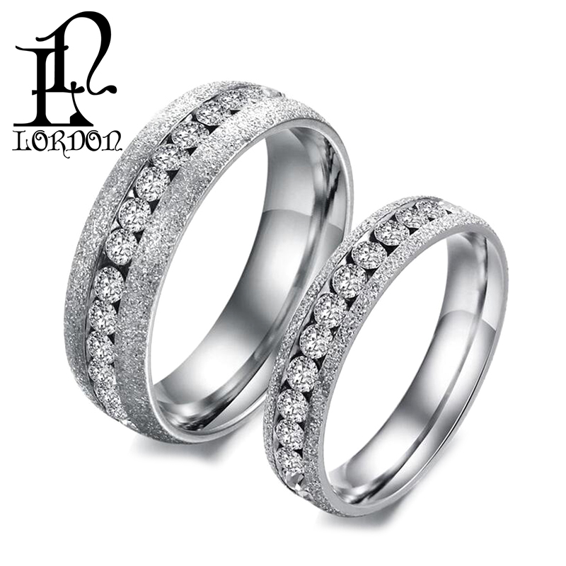 New Silver His And Hers Matching Set CZ Diamond Stainless Steel Couple Wedding Ring