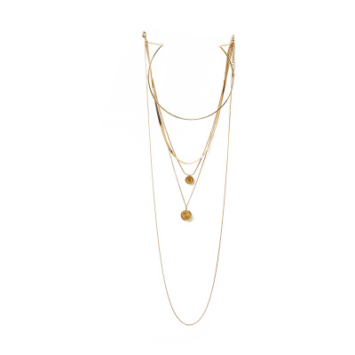 Women Newest Design Gold Multi Layer Necklace Alloy Open Cuff Choker Gold Coin Pendant Metal Collar Necklace For Girls