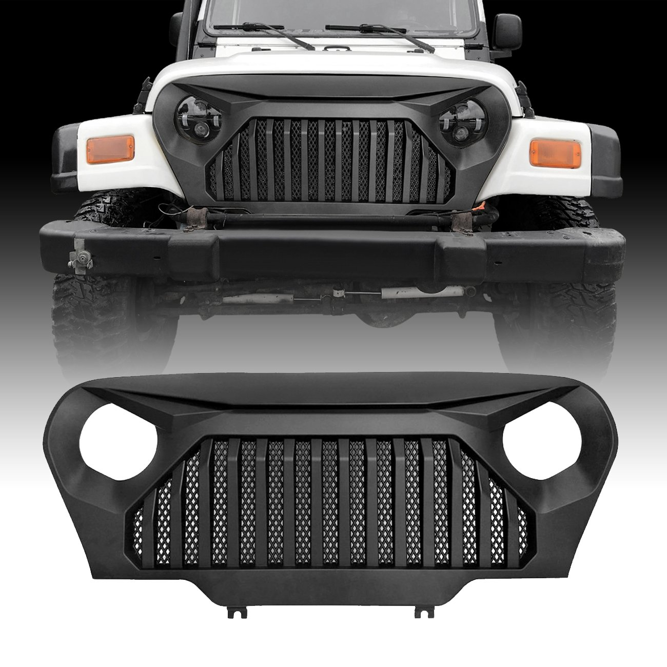 ICARS Matte Black Mesh Grill Inserts Grille Guard Square Style for 1997-2006 Jeep Wrangler TJ Unlimited Rubicon Sahara 7PCS
