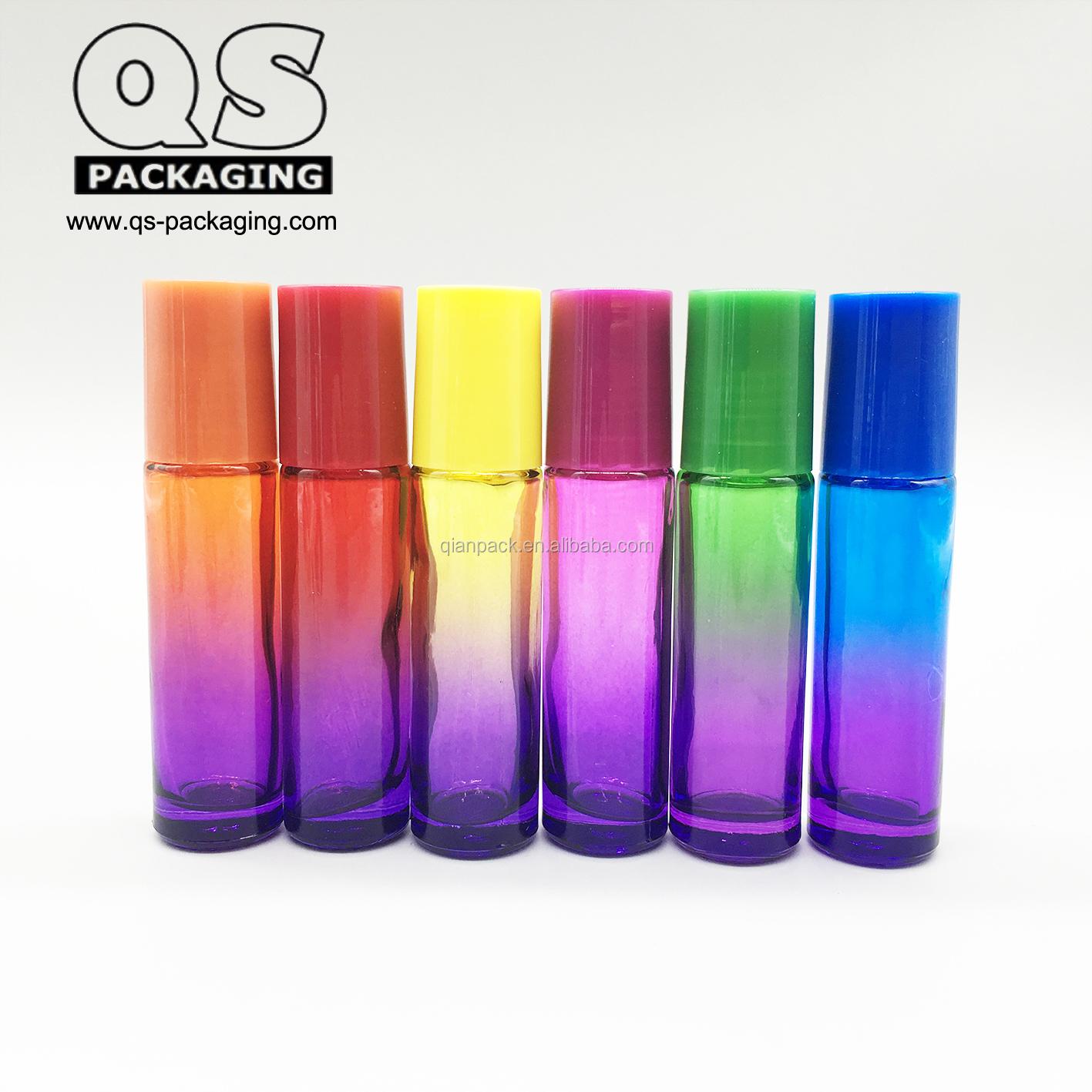 10 ml ארוך ודק ברור כיכר זכוכית מתכת רולר בקבוק עם מכסה אלומיניום