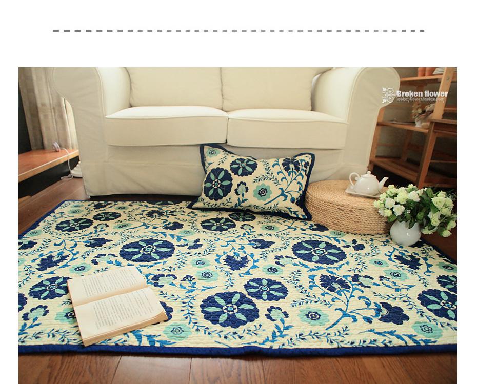 ikea style mignon bleu tapis de fleurs coton matelass mini environnement tapis bleu carreaux. Black Bedroom Furniture Sets. Home Design Ideas