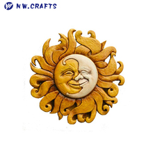 Polyresin Sun and Moon Celestial Wall Decor Yellow Sun and White Moon Combined a Smile Face Plaque Wall Mount Art